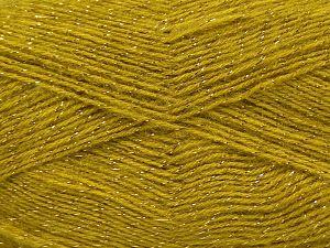 Fiber Content 75% Acrylic, 5% Lurex, 10% Wool, 10% Mohair, Olive Green, Brand Ice Yarns, fnt2-70392