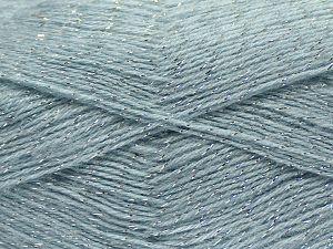 Fiber Content 75% Acrylic, 5% Lurex, 10% Wool, 10% Mohair, Light Blue, Brand Ice Yarns, fnt2-70397