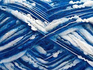 Fiber Content 50% Polyester, 22% Acrylic, 17% Wool, 10% Polyamide, 1% Elastan, White, Saxe Blue, Brand Ice Yarns, fnt2-70442
