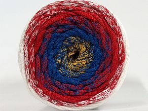 Please be advised that yarns are made of recycled cotton, and dye lot differences occur. Fiber Content 100% Cotton, White, Red, Brand Ice Yarns, Gold, Blue, Yarn Thickness 4 Medium Worsted, Afghan, Aran, fnt2-70668
