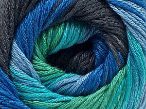 Fiber Content 100% Mercerised Cotton, Brand Ice Yarns, Green, Blue Shades, Black, fnt2-70708