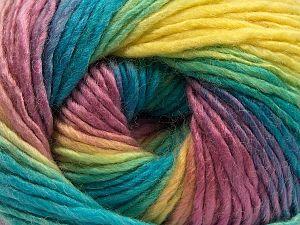Vezelgehalte 70% Acryl, 30% Wol, Yellow, Turquoise, Lilac, Brand Ice Yarns, Yarn Thickness 3 Light DK, Light, Worsted, fnt2-70821