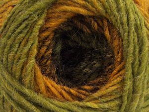 Fiber Content 50% Wool, 30% Acrylic, 20% Alpaca, Brand Ice Yarns, Green Shades, Gold, Dark Brown, fnt2-70879
