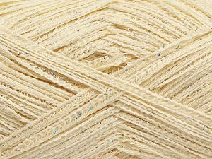 Fiber Content 92% Cotton, 8% Metallic Lurex, Brand Ice Yarns, Cream, fnt2-70900