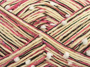 Fiber Content 50% Wool, 5% Metallic Lurex, 30% Acrylic, 15% Polyester, White, Pink, Jungle Green, Brand Ice Yarns, Cream, fnt2-70948