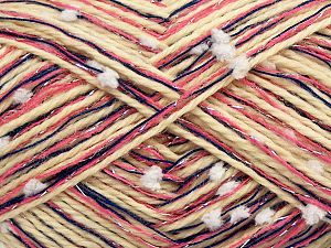Fiber Content 50% Wool, 5% Metallic Lurex, 30% Acrylic, 15% Polyester, White, Pink, Brand Ice Yarns, Dark Blue, Cream, fnt2-70949