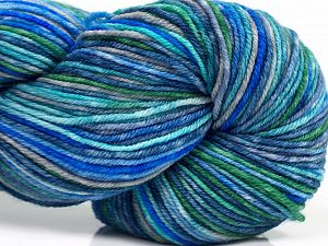 Please note that this is a hand-dyed yarn. Colors in different lots may vary because of the charateristics of the yarn. Also see the package photos for the colorway in full; as skein photos may not show all colors. Fiber Content 75% Superwash Merino Wool, 25% Polyamide, Brand Ice Yarns, Green, Blue Shades, fnt2-71173