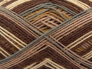 Fiber Content 75% Superwash Wool, 25% Polyamide, Brand Ice Yarns, Grey, Cream, Brown Shades, fnt2-71218