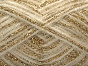 Fiber Content 50% Metallic Lurex, 25% Wool, 15% Polyamide, 10% Acrylic, Brand Ice Yarns, Gold, Ecru, fnt2-71286
