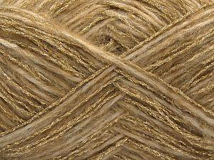 Fiber Content 50% Metallic Lurex, 25% Wool, 15% Polyamide, 10% Acrylic, Light Camel, Brand Ice Yarns, Gold, fnt2-71287