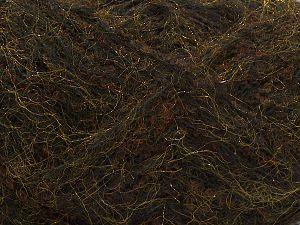 Fiber Content 6% Wool, 50% Metallic Lurex, 20% Acrylic, 13% Polyamide, 10% Alpaca, 1% Elastan, Brand Ice Yarns, Gold, Dark Brown, Black, fnt2-71288