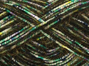 Fiber Content 5% Mohair, 35% Polyester, 30% Acrylic, 15% Nylon, 15% Wool, White, Lilac, Brand Ice Yarns, Green, Gold, Blue, Black, fnt2-71289