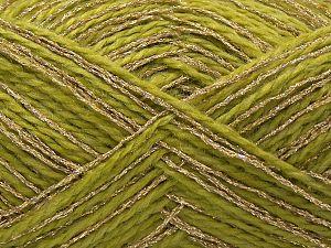 Fiber Content 50% Metallic Lurex, 40% Acrylic, 10% Polyamide, Light Green, Brand Ice Yarns, Gold, fnt2-71290