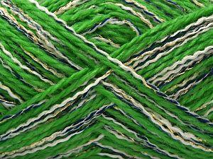 Fiber Content 50% Acrylic, 5% Metallic Lurex, 20% Viscose, 15% Polyester, 10% Polyamide, White, Navy, Brand Ice Yarns, Green, Gold, fnt2-71293