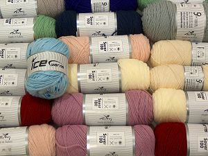Acrylic Yarns In this list; you see most recent 50 mixed lots. <br> To see all <a href=&/mixed_lots/o/4#list&>CLICK HERE</a> (Old ones have much better deals)<hr> Vezelgehalte 100% Acryl, Brand Ice Yarns, fnt2-71323