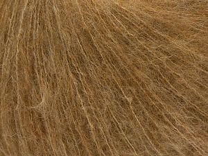 Fiber Content 41% SuperKid Mohair, 23% Viscose, 23% Polyamide, 2% Elastan, 11% Merino Wool, Brand Ice Yarns, Camel, fnt2-71351