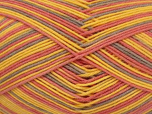 Fiber Content 50% Acrylic, 50% Cotton, Yellow, Pink, Light Lilac, Brand Ice Yarns, fnt2-71420