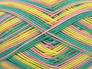 Fiber Content 50% Acrylic, 50% Cotton, Yellow, Turquoise, Pink, Brand Ice Yarns, fnt2-71421