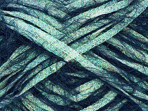 Fiber Content 50% Metallic Lurex, 50% Polyester, Light Dark Green Navy, Brand Ice Yarns, fnt2-71454