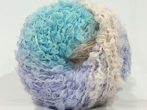 Fiber Content 50% Acrylic, 30% Wool, 20% Mohair, Turquoise, Powder Pink, Light Lilac, Brand Ice Yarns, fnt2-71493