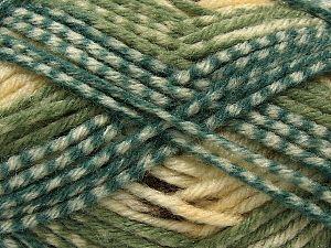 Fiber Content 50% Acrylic, 40% Wool, 10% Viscose, White, Oil Green, Light Green, Brand Ice Yarns, Brown, fnt2-71510