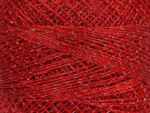 Fiber Content 70% Polyester, 30% Metallic Lurex, Brand YarnArt, Silver, Red, Yarn Thickness 0 Lace Fingering Crochet Thread, fnt2-17345