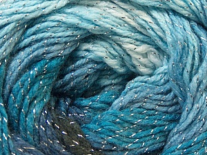 Fiber Content 95% Acrylic, 5% Lurex, White, Silver, Navy, Brand ICE, Blue, Black, Yarn Thickness 3 Light  DK, Light, Worsted, fnt2-22051