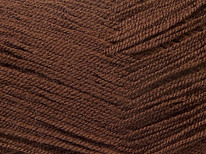 Very thin yarn. It is spinned as two threads. So you will knit as two threads. Yardage information is for only one strand. Fiber Content 100% Acrylic, Brand ICE, Brown, Yarn Thickness 1 SuperFine  Sock, Fingering, Baby, fnt2-22439