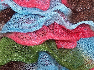 A fresh scarf  yarn wiith cotton content. Shiny and fresh! Fiber Content 70% Cotton, 30% Nylon, Pink, Brand ICE, Green, Brown, Blue, Yarn Thickness 6 SuperBulky  Bulky, Roving, fnt2-25146
