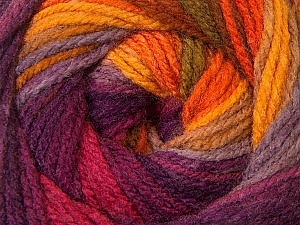 Fiber Content 100% Acrylic, Yellow, Purple, Orange, Lilac, Brand ICE, Yarn Thickness 3 Light  DK, Light, Worsted, fnt2-33054