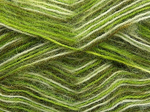 Fiber Content 70% Angora, 30% Acrylic, White, Brand ICE, Green Shades, Yarn Thickness 2 Fine  Sport, Baby, fnt2-35085