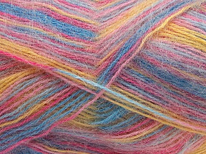 Fiber Content 70% Angora, 30% Acrylic, Yellow, Pink, Light Blue, Brand ICE, Yarn Thickness 2 Fine  Sport, Baby, fnt2-35090