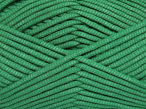 This is a tube-like yarn with soft fleece inside. Fiber Content 73% Viscose, 27% Polyester, Brand ICE, Green, Yarn Thickness 5 Bulky  Chunky, Craft, Rug, fnt2-35612
