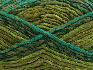Fiber Content 75% Acrylic, 25% Wool, Turquoise, Khaki, Brand ICE, Green Shades, Yarn Thickness 5 Bulky  Chunky, Craft, Rug, fnt2-40818