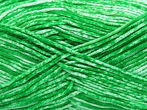 Strong pure cotton yarn in beautiful colours, reminiscent of bleached denim. Machine washable and dryable. Fiber Content 100% Cotton, White, Brand Ice Yarns, Green, Yarn Thickness 3 Light DK, Light, Worsted, fnt2-42563