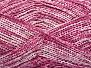 Strong pure cotton yarn in beautiful colours, reminiscent of bleached denim. Machine washable and dryable. Fiber Content 100% Cotton, White, Pink, Brand ICE, Yarn Thickness 3 Light  DK, Light, Worsted, fnt2-42568