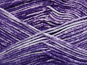 Strong pure cotton yarn in beautiful colours, reminiscent of bleached denim. Machine washable and dryable. Fiber Content 100% Cotton, White, Purple, Brand ICE, Yarn Thickness 3 Light  DK, Light, Worsted, fnt2-42569