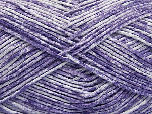 Strong pure cotton yarn in beautiful colours, reminiscent of bleached denim. Machine washable and dryable. Fiber Content 100% Cotton, White, Lilac, Brand Ice Yarns, Yarn Thickness 3 Light DK, Light, Worsted, fnt2-42570