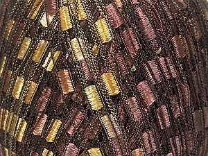 Trellis Fiber Content 100% Polyester, Brand Ice Yarns, Gold, Brown, Yarn Thickness 5 Bulky Chunky, Craft, Rug, fnt2-42715