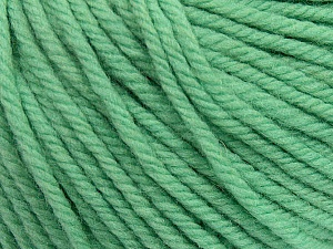 SUPERWASH WOOL BULKY is a bulky weight 100% superwash wool yarn. Perfect stitch definition, and a soft-but-sturdy finished fabric. Projects knit and crocheted in SUPERWASH WOOL BULKY are machine washable! Lay flat to dry. Fiber Content 100% Superwash Wool, Mint Green, Brand ICE, Yarn Thickness 5 Bulky  Chunky, Craft, Rug, fnt2-42838