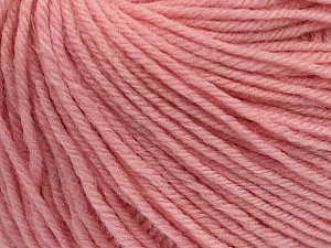 SUPERWASH WOOL is a DK weight 100% superwash wool yarn. Perfect stitch definition, and a soft-but-sturdy finished fabric. Projects knit and crocheted in SUPERWASH WOOL are machine washable! Lay flat to dry. Fiber Content 100% Superwash Wool, Brand ICE, Baby Pink, Yarn Thickness 3 Light  DK, Light, Worsted, fnt2-42942