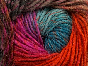 Fiber Content 100% Wool, Turquoise, Orange, Brand Ice Yarns, Fuchsia, Camel, Yarn Thickness 4 Medium Worsted, Afghan, Aran, fnt2-43067