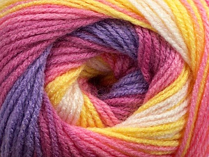 Fiber Content 100% Acrylic, Yellow, White, Pink, Orchid, Lilac, Brand ICE, Yarn Thickness 3 Light  DK, Light, Worsted, fnt2-44715