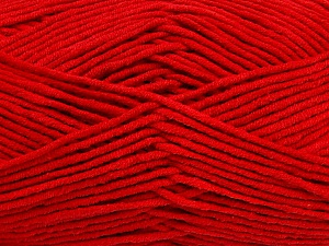 Fiber Content 55% Cotton, 45% Acrylic, Red, Brand ICE, Yarn Thickness 4 Medium  Worsted, Afghan, Aran, fnt2-45147