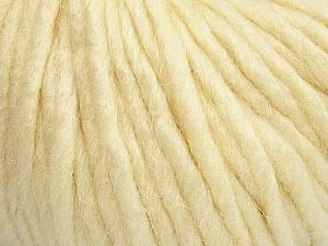 Fiber Content 50% Merino Wool, 25% Acrylic, 25% Alpaca, Brand ICE, Cream, Yarn Thickness 6 SuperBulky  Bulky, Roving, fnt2-48097