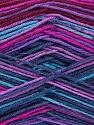 Fiber Content 75% Superwash Wool, 25% Polyamide, Turquoise, Purple, Maroon, Brand ICE, Fuchsia, Yarn Thickness 1 SuperFine  Sock, Fingering, Baby, fnt2-51908