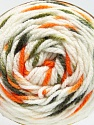 Fiber Content 80% Acrylic, 20% Polyamide, White, Orange, Brand ICE, Green Shades, Yarn Thickness 4 Medium  Worsted, Afghan, Aran, fnt2-53200