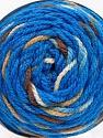 Fiber Content 80% Acrylic, 20% Polyamide, Brand ICE, Cream, Brown Shades, Blue, Yarn Thickness 4 Medium  Worsted, Afghan, Aran, fnt2-53211