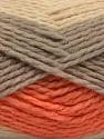 Contenido de fibra 70% Acrílico, 30% Lana, Orange, Brand Ice Yarns, Grey, Cream, Yarn Thickness 4 Medium Worsted, Afghan, Aran, fnt2-53554