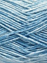 Strong pure cotton yarn in beautiful colours, reminiscent of bleached denim. Machine washable and dryable. Fiber Content 100% Cotton, White, Light Blue, Brand ICE, Yarn Thickness 3 Light  DK, Light, Worsted, fnt2-54760
